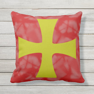Golden Byzantine Cross Red Background Outdoor Pillow