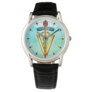 GOLDEN CADUCEUS VETERINARY SYMBOL Aqua Blue Green Watch