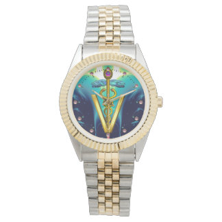 GOLDEN CADUCEUS VETERINARY SYMBOL / Aqua Blue,Teal Watches