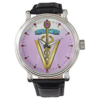GOLDEN CADUCEUS VETERINARY SYMBOL / Pink,Lilac Watch