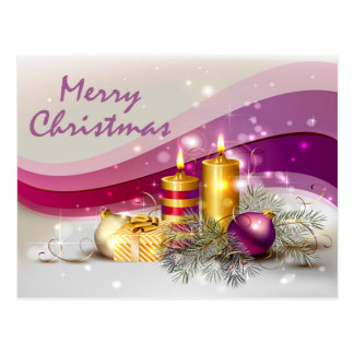 Golden Candle Christmas Balls in Purple Background Postcard