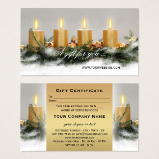Golden Candles Christmas Gift Certificate Template