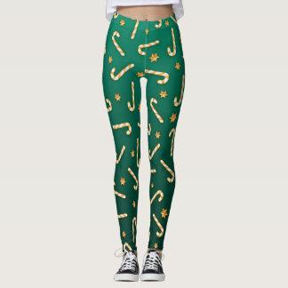 Golden Candycane Green Leggings
