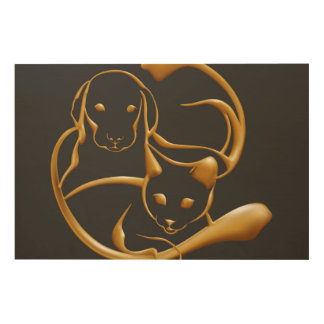 Golden cat dog wood wall decor