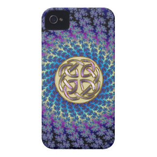 Golden Celtic Knot on a Colorful Spiral Fractal iPhone 4 Covers