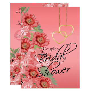 Golden Chain Hearts on Coral Satin - Bridal Shower Card