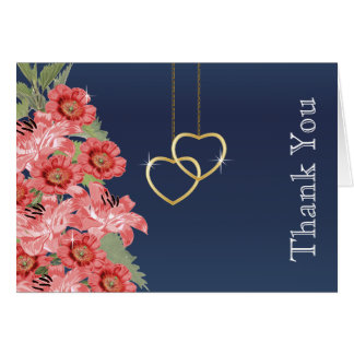 Golden Chain Hearts on Navy Blue Satin Card