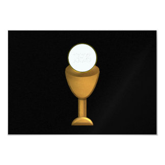 Golden Chalice and Host - Holy Communion 3.5x5 Paper Invitation Card