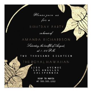 Golden Champaign Floral Glam Vip Birthday Party Card