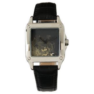 golden chaotic garden wrist watch