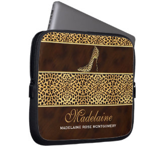 Golden Cheetah Hues in Wild Animal Print Laptop Sleeve