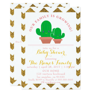 Golden Chevron & Cacti Baby Shower Invitation