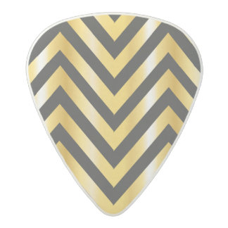 Golden chevron grandiose art deco acetal guitar pick