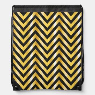 Golden chevron grandiose art deco drawstring bag