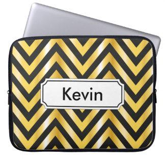 Golden chevron grandiose art deco laptop sleeve