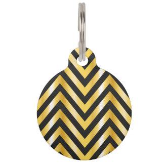 Golden chevron grandiose art deco pet ID tag