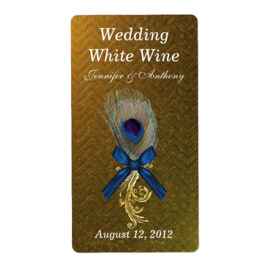 Golden Chevron Peacock Feather Wedding Mini Wine Shipping Label