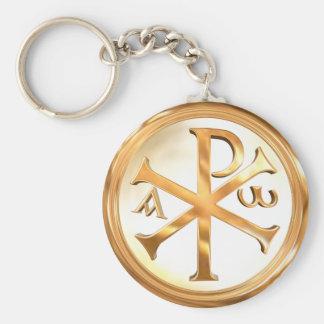 Golden Chi-Rho Basic Round Button Keychain