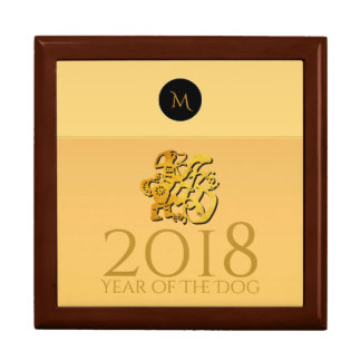Golden Chinese Dog Papercut 2018 Monogram GiftBox Gift Box