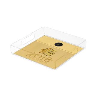 Golden Chinese Dog Papercut 2018 Monogram Square T Acrylic Tray
