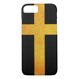 Golden Christian Cross on a Black Background iPhone 7 Case