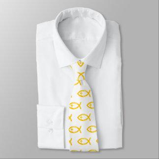 Golden Christian Fish Crucifix   Religious Tie