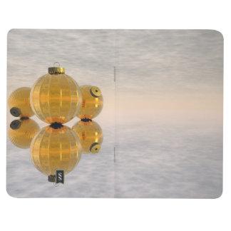Golden Christmas balls - 3D render Journal
