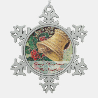 Golden Christmas Bell Pewter Snowflake Ornament