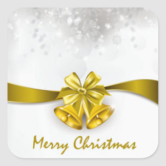 Golden Christmas Bells & Bow with Snowfall Square Sticker
