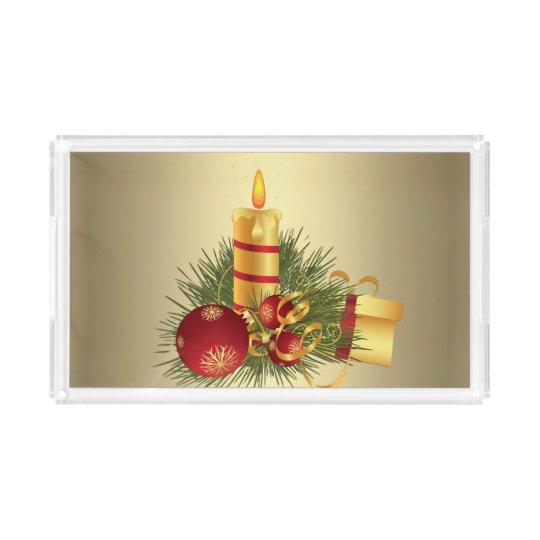 Golden Christmas Candle Acrylic Tray