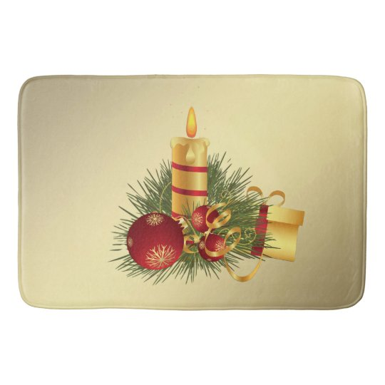 Golden Christmas Candle Bath Mat
