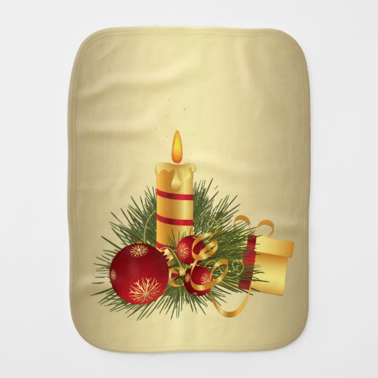 Golden Christmas Candle Burp Cloth
