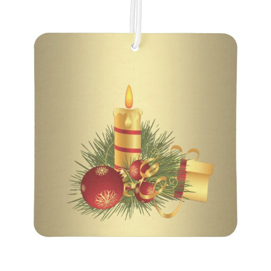 Golden Christmas Candle Car Air Freshener