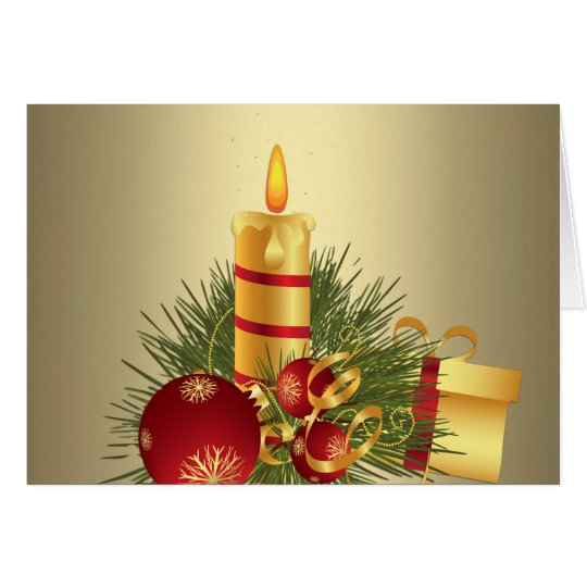 Golden Christmas Candle Card
