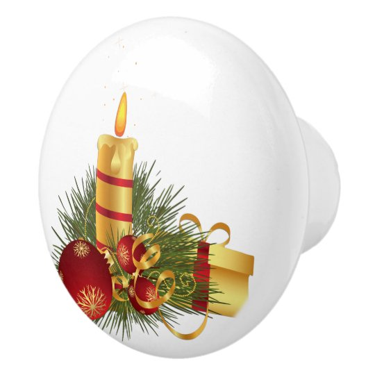 Golden Christmas Candle Ceramic Knob