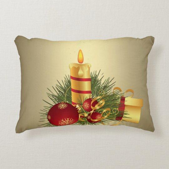 Golden Christmas Candle Decorative Pillow