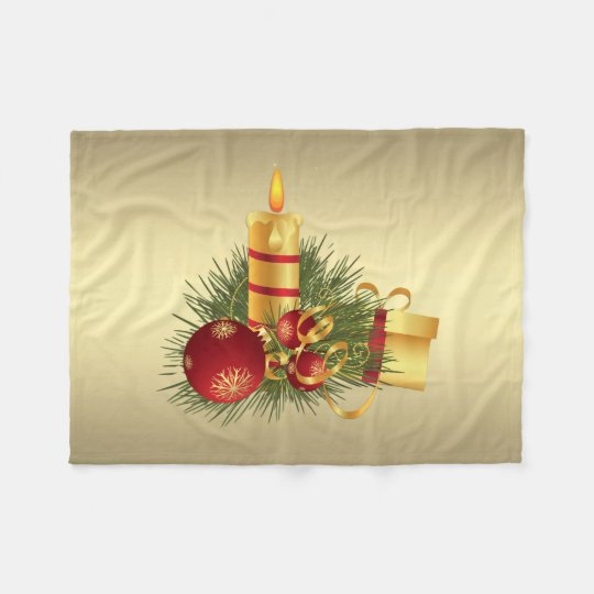 Golden Christmas Candle Fleece Blanket