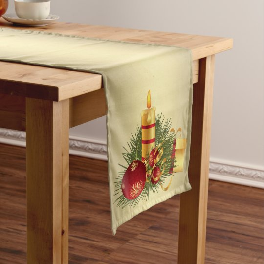 Golden Christmas Candle Long Table Runner