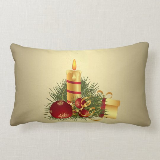 Golden Christmas Candle Lumbar Pillow