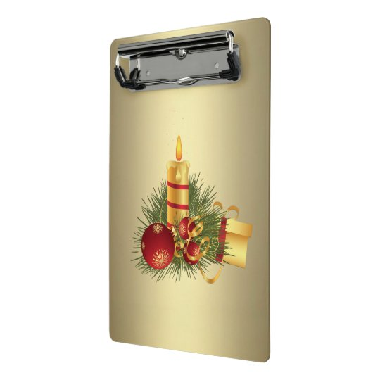 Golden Christmas Candle Mini Clipboard