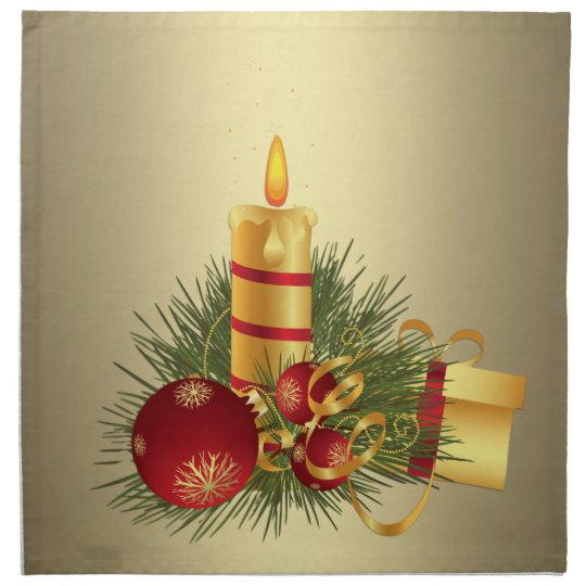 Golden Christmas Candle Napkin