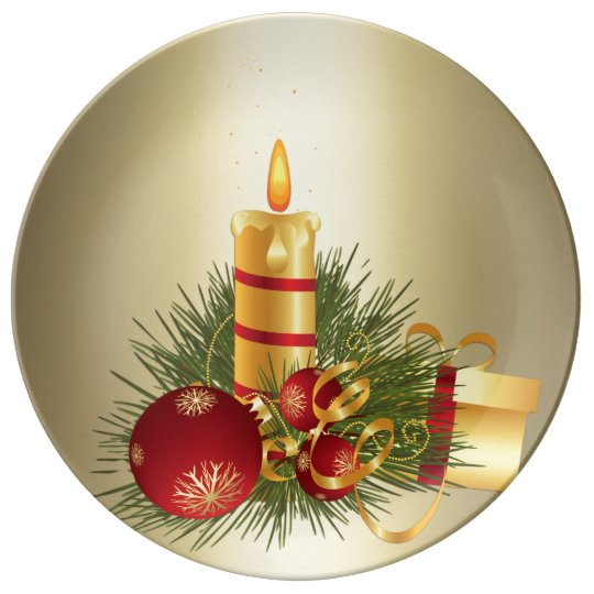 Golden Christmas Candle Plate