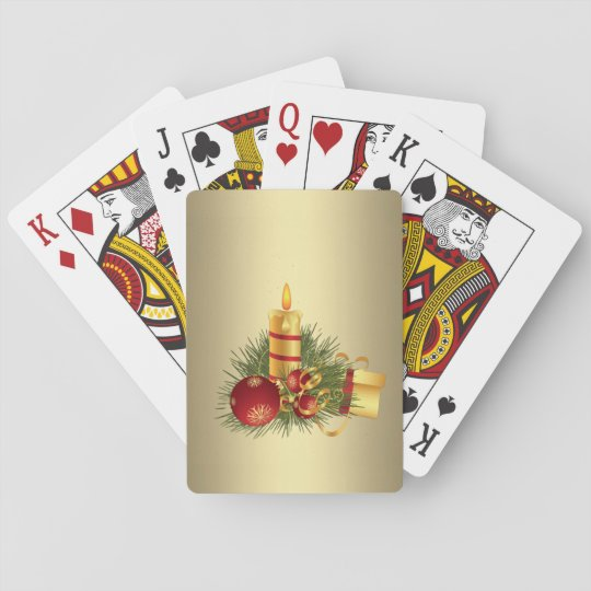 Golden Christmas Candle Playing Cards