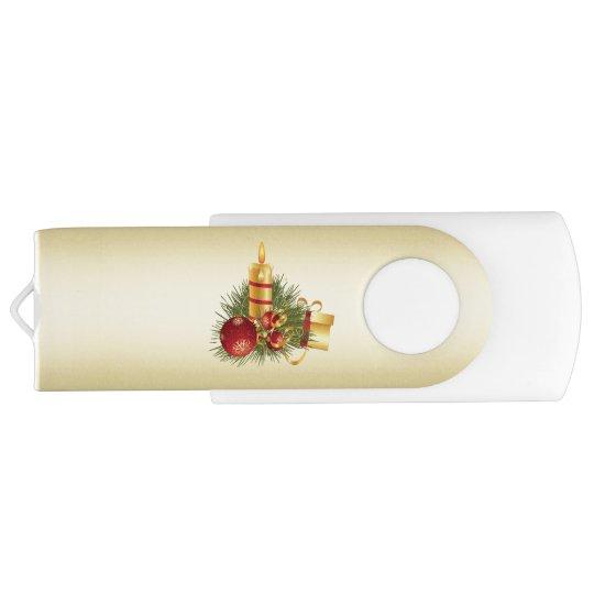 Golden Christmas Candle USB Flash Drive