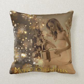 Golden Christmas cushion