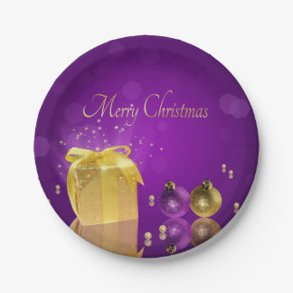 Golden Christmas Gift Box - Paper Plate