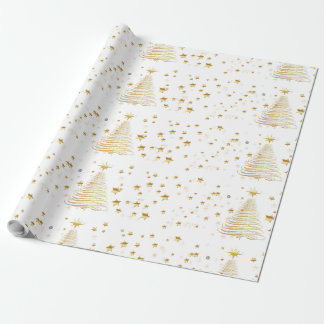 """Golden Christmas Glossy Wrapping Paper, 30"""" x 30' Wrapping Paper"""