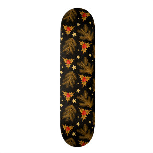 Golden Christmas Holly Berry Tree Branches Pattern Skateboard