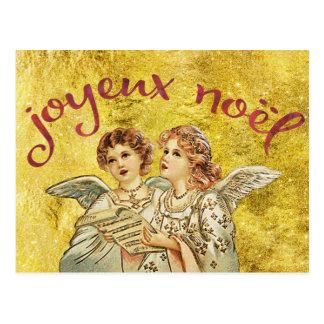 Golden Christmas, Joyeux Noel Greetings Postcard