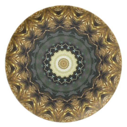 Golden Christmas Kaleidoscope Plate